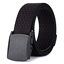 Hypoallergenic belt canvas belt woven canvas belt ladies outdoor casual nylon belt-125CM-black