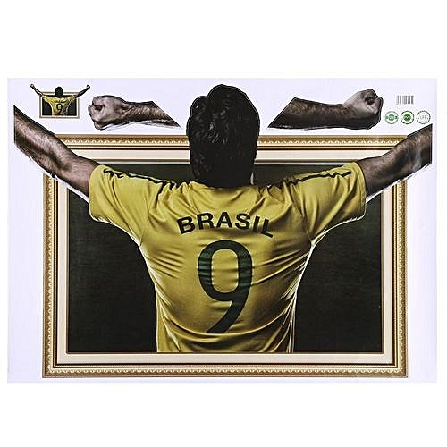 a73d3a2e535 Generic  clearance Sale+ready Stock 3D Soccer Wall Stickers Removable  Broken World Cup Theme Wall Sticker DIY Wall Decor  7255