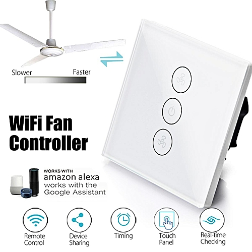 86mm WIFI Smart Fan Controller Wall Switch Touch Panel For Alexa/Google Home