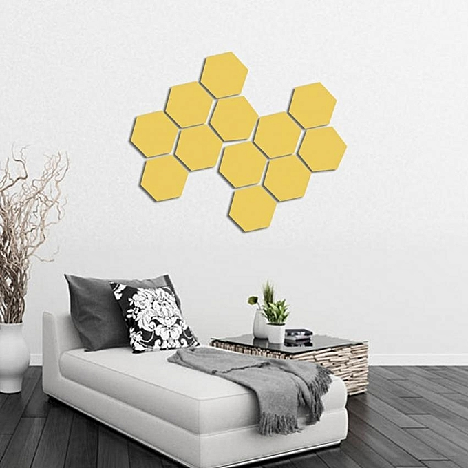 Buy UNIVERSAL 12pcs Modern 3D Mirror Geometric Hexagonal Plastic ...