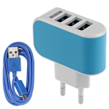3.1A Triple USB Port Wall Home Travel AC Charger Adapter EU + Micro USB Cable-Blue