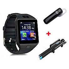 Dz09 Smart Watch Phone Black + Free Blutooth + Selfie Stick - Black