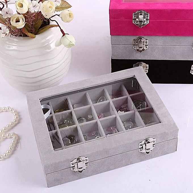 Velvet Gl Jewelry Ring Display Organizer Box Tray Holder Earring Storage Case Gray