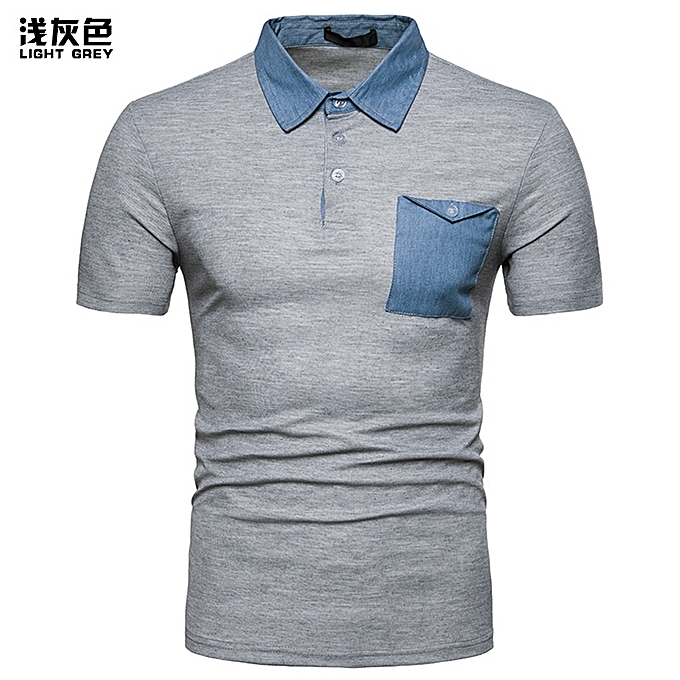 a0bbb55650 New Stylish Men Denim Leisure Stitching Color Lapel Short Sleeve Polo Shirt