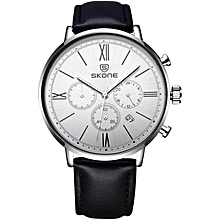 SKONE Brand Men's Genuine Leather Strap Sport Watches Multi-function Quartz Wristwatches 393204 WWD