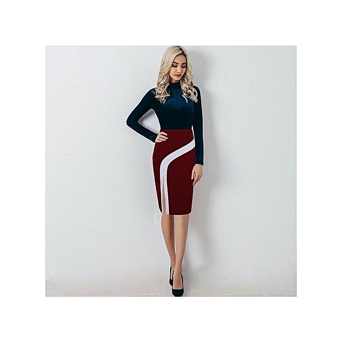 Plus Size Women Pencil Skirts Autumn 2017 Elegant High Waist Bodycon Skirt  Korean Fashion Zipper Elastic ec428abd4