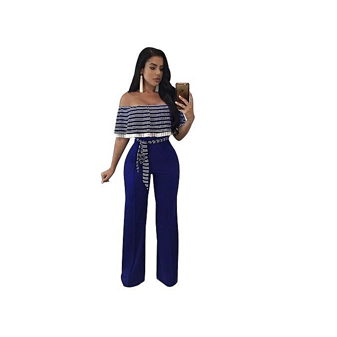 1ac47d608323 Fashion Off Shoulder Sleeve Hollow Out Sexy Women Bodycon Long Jumpsuit  Rompers-navy Blue