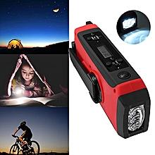 Emergency Solar Hand Crank Dynamo AM/FM/WB Weather Radio LED Flashlight Charger Red
