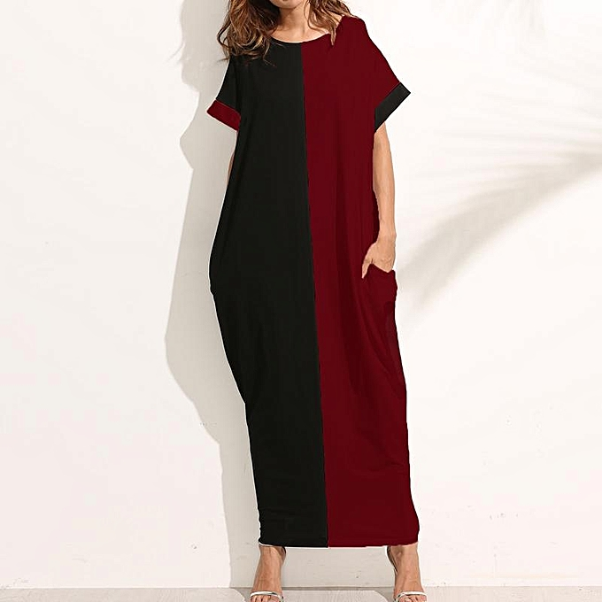 67a51d6123f87 ZANZEA Women O-Neck Short Sleeve Casual Loose Long Maxi Dress Summer  Batwing Party Evening