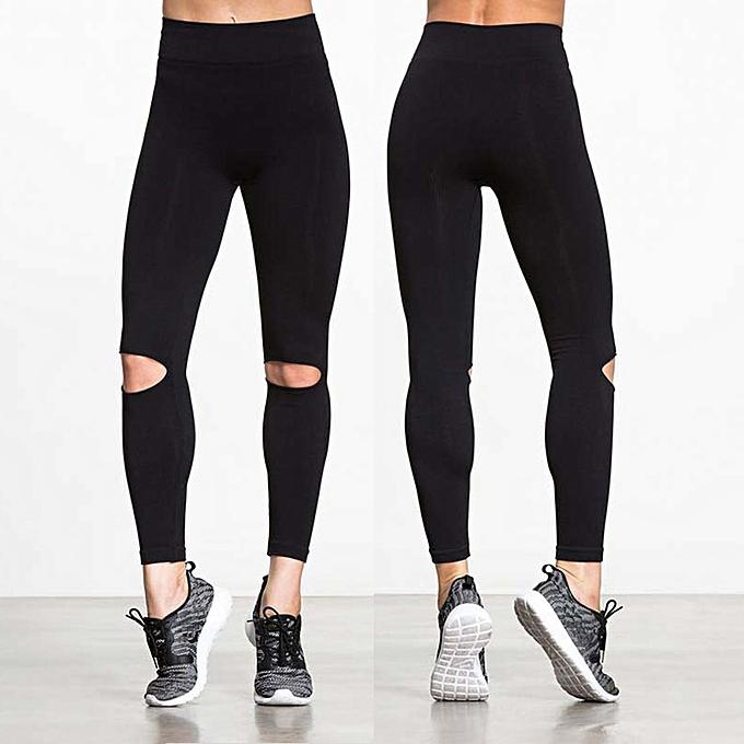 375e657c60 Sexy Women Yoga Pants Sports Leggings Cutout Design Workout Running Skinny  Slim Fitness Tights Black
