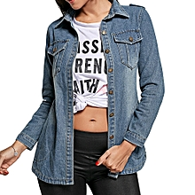 Women Button Up Denim Jacket - Denim Blue