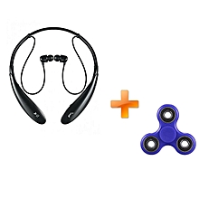 HBS-730 Wireless Bluetooth 4.0 Headset Black,Get One Free Fidget Spinner