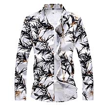 Print Turndown Collar Long Sleeve  Shirts  (White)
