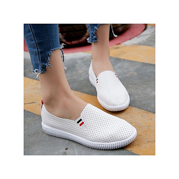 c1a889fad59 Jiahsyc Store Ladies Women Hollow Out Shoes Round Toe Platform Flat Heel  Slip On Casual Shoes