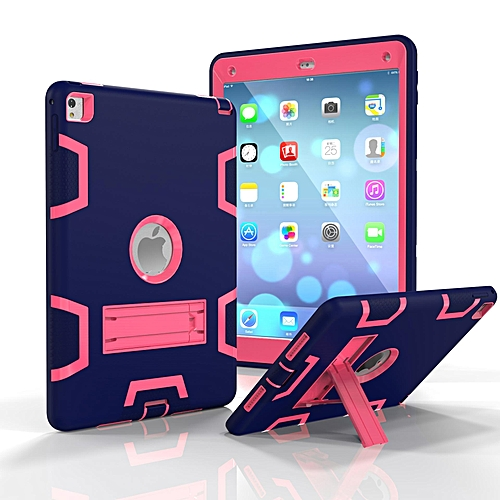 new arrival 22782 c9616 Shockproof Heavy Duty Hard Case Silicone Case Protective Case Cover for  Apple iPad air 2 / iPad 6(NavyBlue+RoseRed) Mll-S