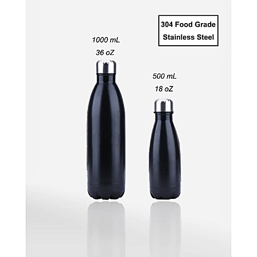 bca7773c22b Fashion Stainless Steel Insulated Water Bottle 36 oz Jug – Black ...