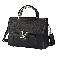 Women Lichee Solid Color Lock Handbag Shoulder Bag - Black