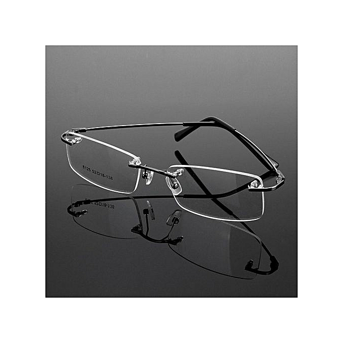 ed86082a90f Rimless Glasses Lightest Rx Optical Eyeglasses Memory Titanium Spectacles  Frame Gray