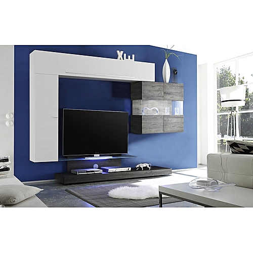 Buy Roman Line Wall Unit White Beige Matt and Oak Wenge @ Best Price ...