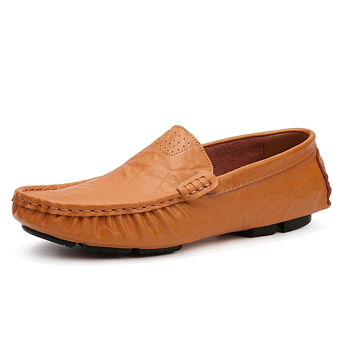 Socnodn Mens Fashion Leather Loafers Flats Casual Boat Shoes Brown