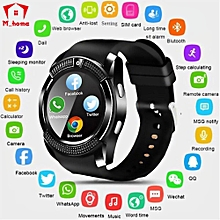 V8 Waterproof Bluetooth Smart Watches With Camera Fitness Bracelet Cool Clock Support TF Card Facebook Whatsapp (Black) XAA-S