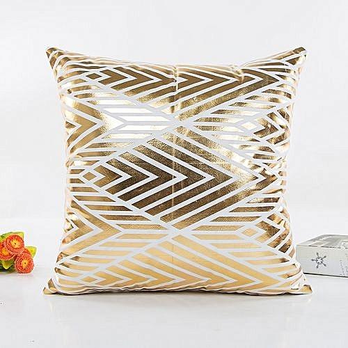 Gold Foil Printing Pillow Case Sofa Waist Throw Cushion Cover Home Decor