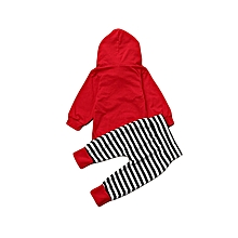 Newborn Kids Baby Boy Girl Outfits Clothes Hooded T-shirt Tops+Stripe Pants Set