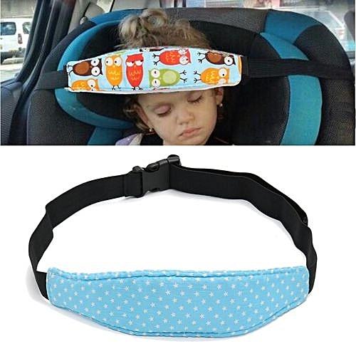 Baby Car Seat Sleep Head Support Children Travel Safety Adjustable Strap Belt Blue Stars