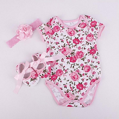 42e5154bc UNIVERSAL Fashion Floral Baby Sleeveless Rompers Rose Headband ...