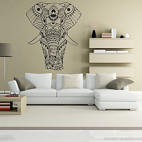 1 Pc Elephant Wall Decals Bedroom Indian Yoga Vinyl Decal Sticker Bohemian Boho Decor