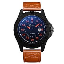 Olivaren GONEWA Mens Quartz Wrist Watch Analog Date Day Army Sport Leather LuxuryYellow