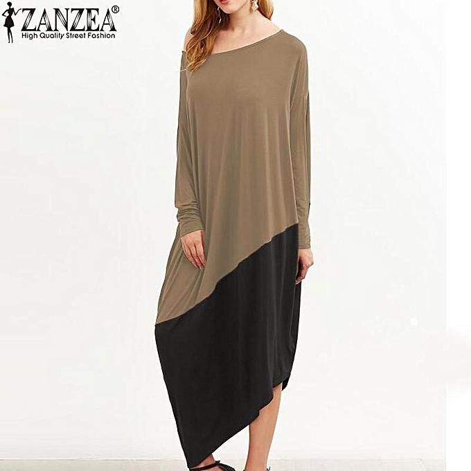 613daba2c2e5 ZANZEA Women Round Neck Long Sleeve Loose Casual Kaftan Vintage  Asymmetrical Hem Long Shirt Dress ...