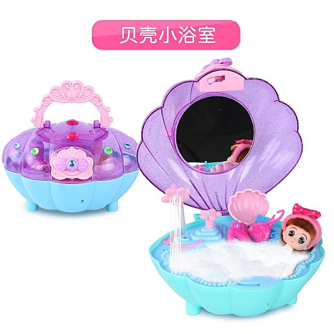 313 Shell Small BathroomBarbie Mobile Gift Box Childrens Mini Kitchen Toys 3