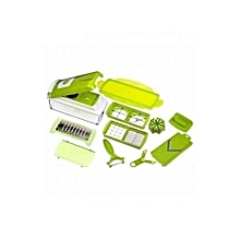 Multi Chopper with Stainless Steel + FREE Peeler & Container Multifunctional Vegetable Cutter - Green