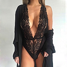 Women Sexy Deep V Neck One Piece Lace Babydoll Underwear Dress Sleepwear-Black.,