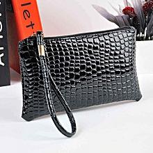 bluerdream-Women Crocodile Leather Clutch Handbag Bag Coin Purse-Black