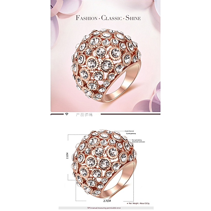 07939bed207 Fashion silver oxide rose gold hollow diamond ring fashion jewelry-Rose gold  7 yards
