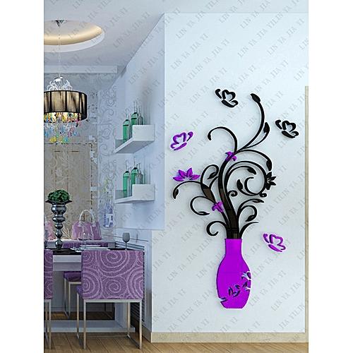 Neworldline Diy Acrylic Crystal Wall Stickers Living Room Bedroom Tv Background Home Purple