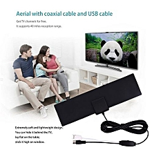 40 Miles HD Digital Amplified TV Aerial With 3 Meters Connection Line Indoor Black