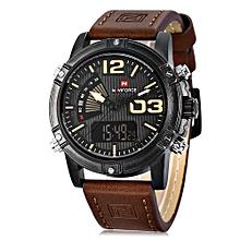 NAVIFORCE NF9095M Men Dual Movt Watch Luminous Calendar LED Light 3ATM Wristwatch-BROWN
