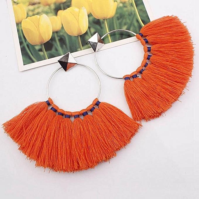 7b1e346624b03 Women Bohemian Exaggerated Big Circle Fashion Tassels Drop Earrings