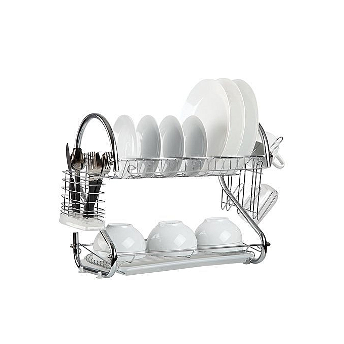 buy new dish rack 2 tier stainless steel with drain board silver best price online. Black Bedroom Furniture Sets. Home Design Ideas