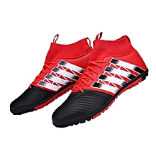 UL Football Shoes Broken Nail Anti-skid Soccer Boots Sports Training Sneakers Black & Red