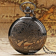 The Explosion Retro Bronze Dr. Who Pattern Pocket Watch Necklace Chain Pendant Gift Quartz