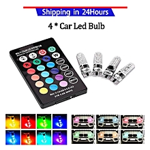 4pcs T10 SMD 5050 RGB Colorful Auto Car Lights LED Bulbs with Remote Control Kit