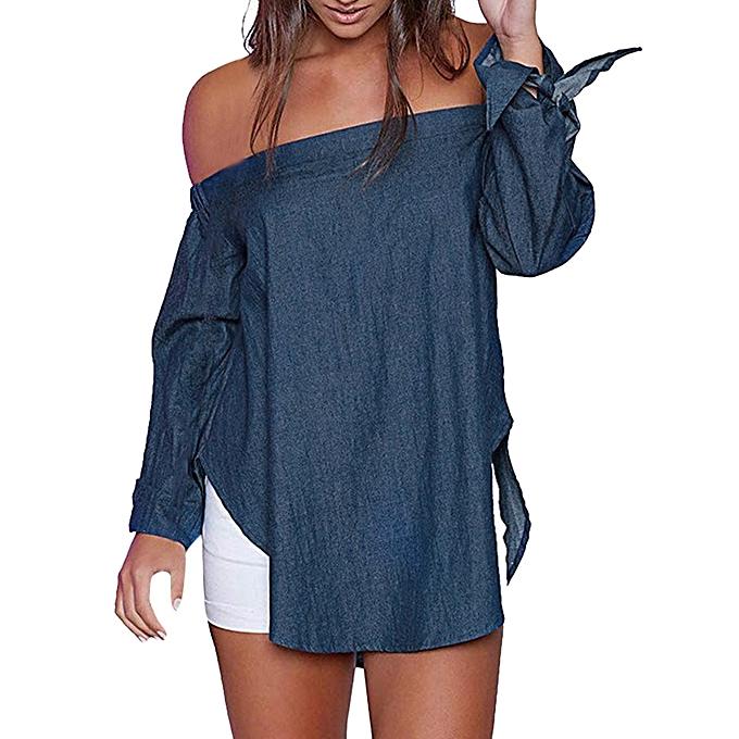 baac5346dd1 Xiuxingzi Women Casual Off Shoulder Long Sleeve Irregular Split Hem T-Shirt  Top Blouse