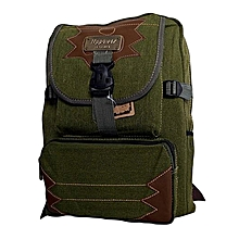 Heavy Canvas Shool Bag /Backpack - Jungle Green