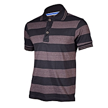 Brown and Grey Striped Mens Pure Cotton Polo T-Shirt - Freestyle Streetwear