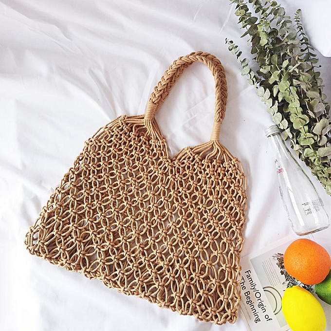 1ee4718784e Minimalist Artsy Vintage Mori Fashionable Hollow Out Weave Bag Vacationing  Beach Summer Cotton Handbags Beautiful and