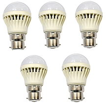 LED Bulb Energy Saving Bulb 5 pcs bundles - White- 3W.